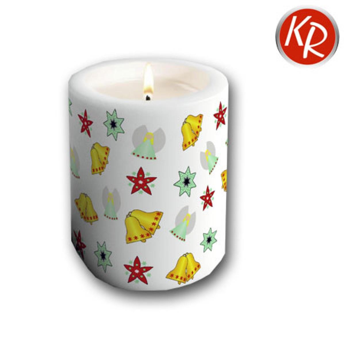 Kerze Weihnachtsornamente weiß  72-0066