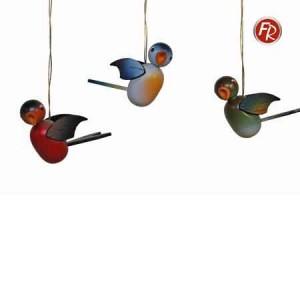 Straußschmuck Singvögel bunt 3er Set 1822