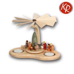 Bogenpyramide Teelicht mit Krippe komplett 3249