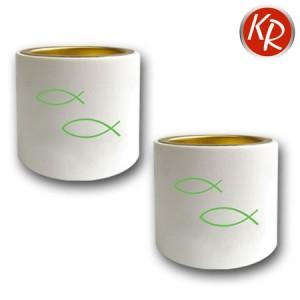 2er-Set Leuchter weiß, grüne Fische 3309