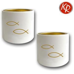 2er-Set Leuchter weiß, goldene Fische 3310