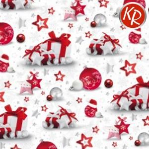 Geschenkpapier Weihnachten rot/weiß Kugeln und Sterne 70-0063