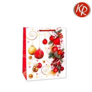 Geschenktasche Weihnachtskugeln rot-gold-weiß klein 71-0039