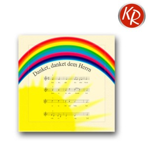 """20er Pack Servietten Regenbogen mit Lied """"Danket dem Herrn"""" 73-0006"""